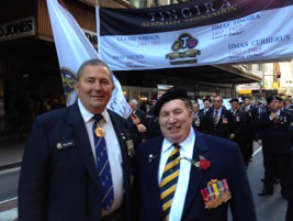Tingira Patron Vice Admiral Russ Crane with the new Tingira President Greg Read in Castlereagh St as the 'Tinny Boys' form up for the 2013 Sydney ANZAC Day March.